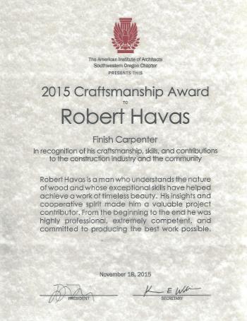 finish carpentry award robert havas eugene oregon